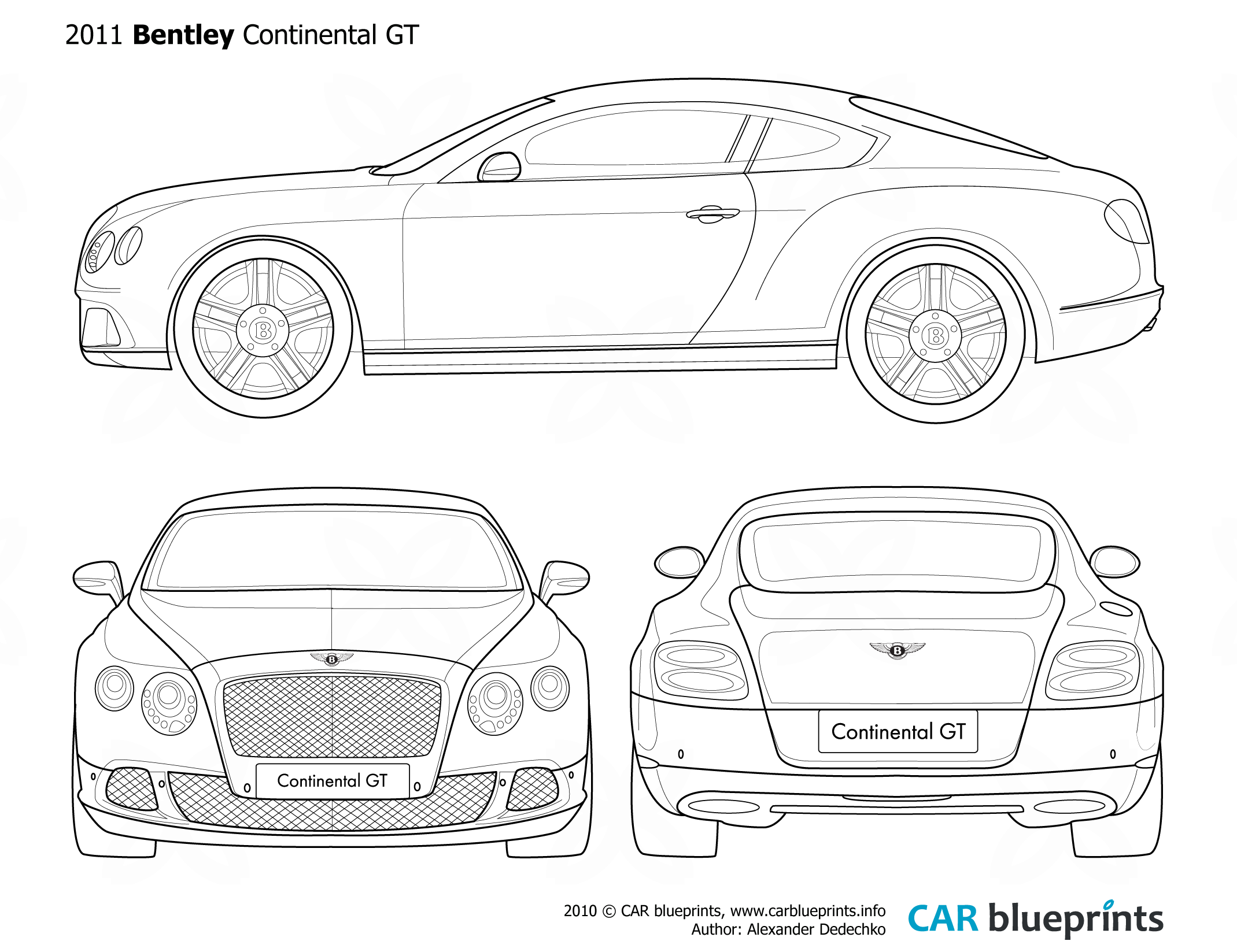 2011 Bentley Continental Gt Coupe Blueprints Free Outlines
