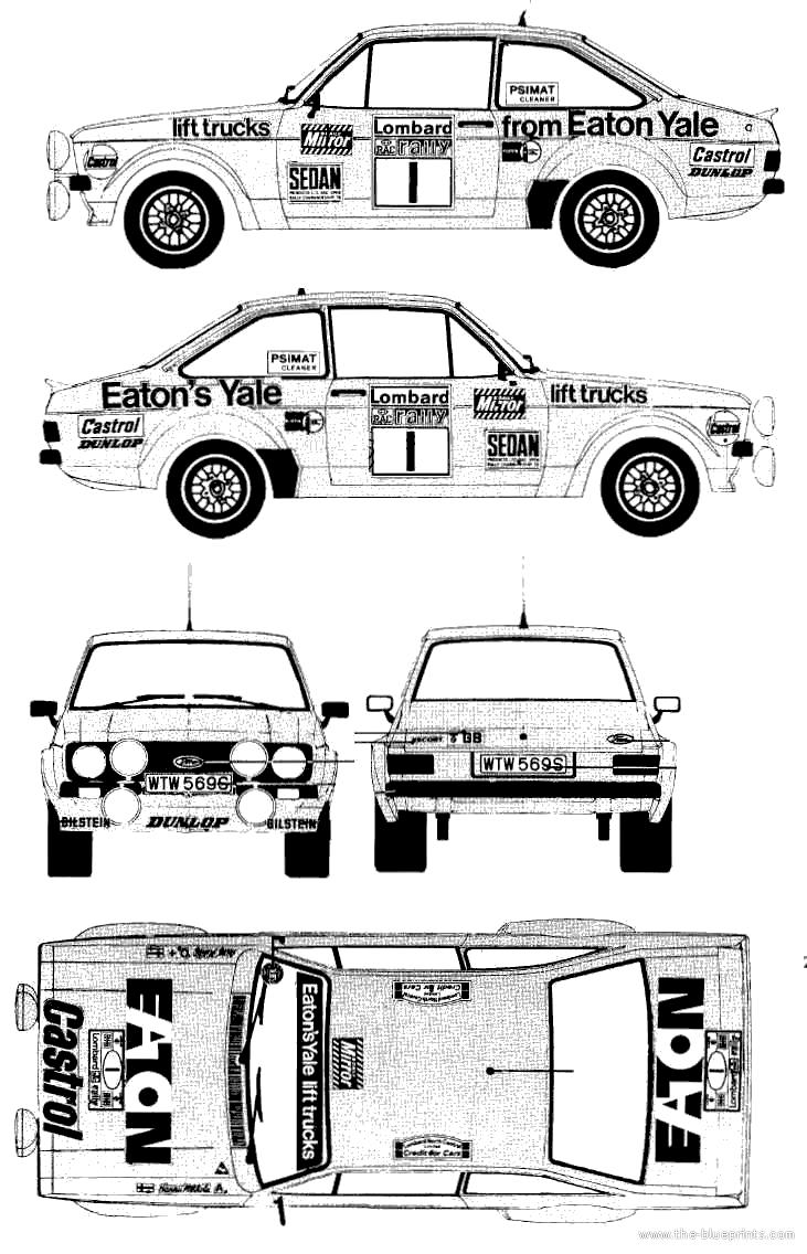 Ford e escort mkii rs1800 rallye coupe blueprints free outlines ford e escort mkii rs1800 rallye blueprints malvernweather Images