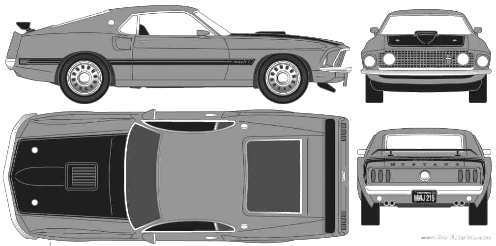 1969 Ford Mustang Mach-1 Coupe blueprints free - Outlines
