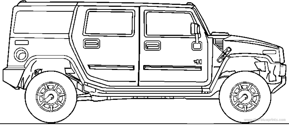 2003 Hummer H2 SUV blueprints free - Outlines
