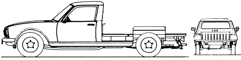 1968 Peugeot 504 Chassis Heavy Truck Blueprints Free Outlines