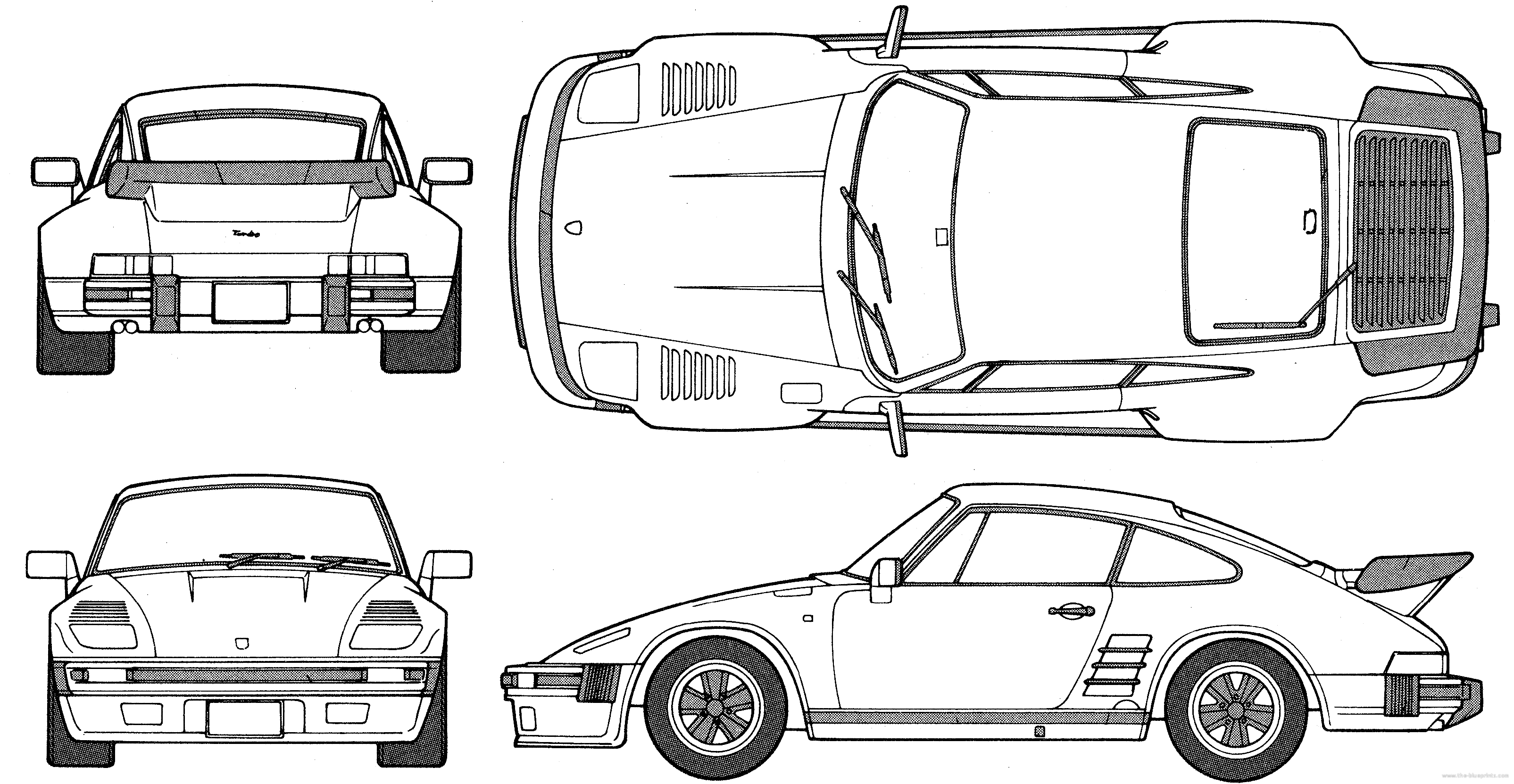 Porsche 911 flatnose coupe blueprints free outlines porsche 911 flatnose blueprints malvernweather Gallery