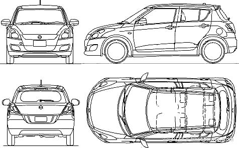 2010 suzuki swift hatchback blueprints free outlines suzuki swift blueprints malvernweather Images