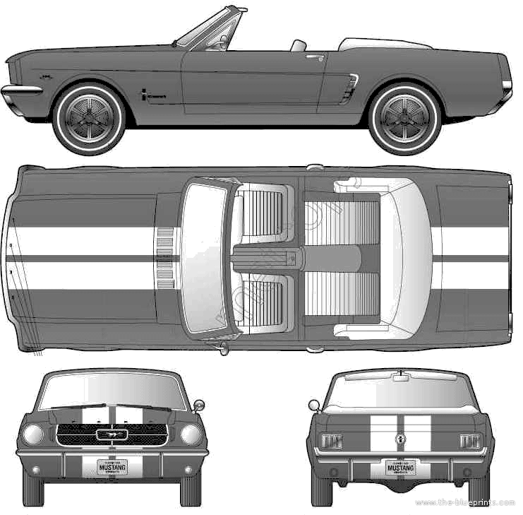 1964 Ford Mustang Convertible Cabriolet blueprints free - Outlines