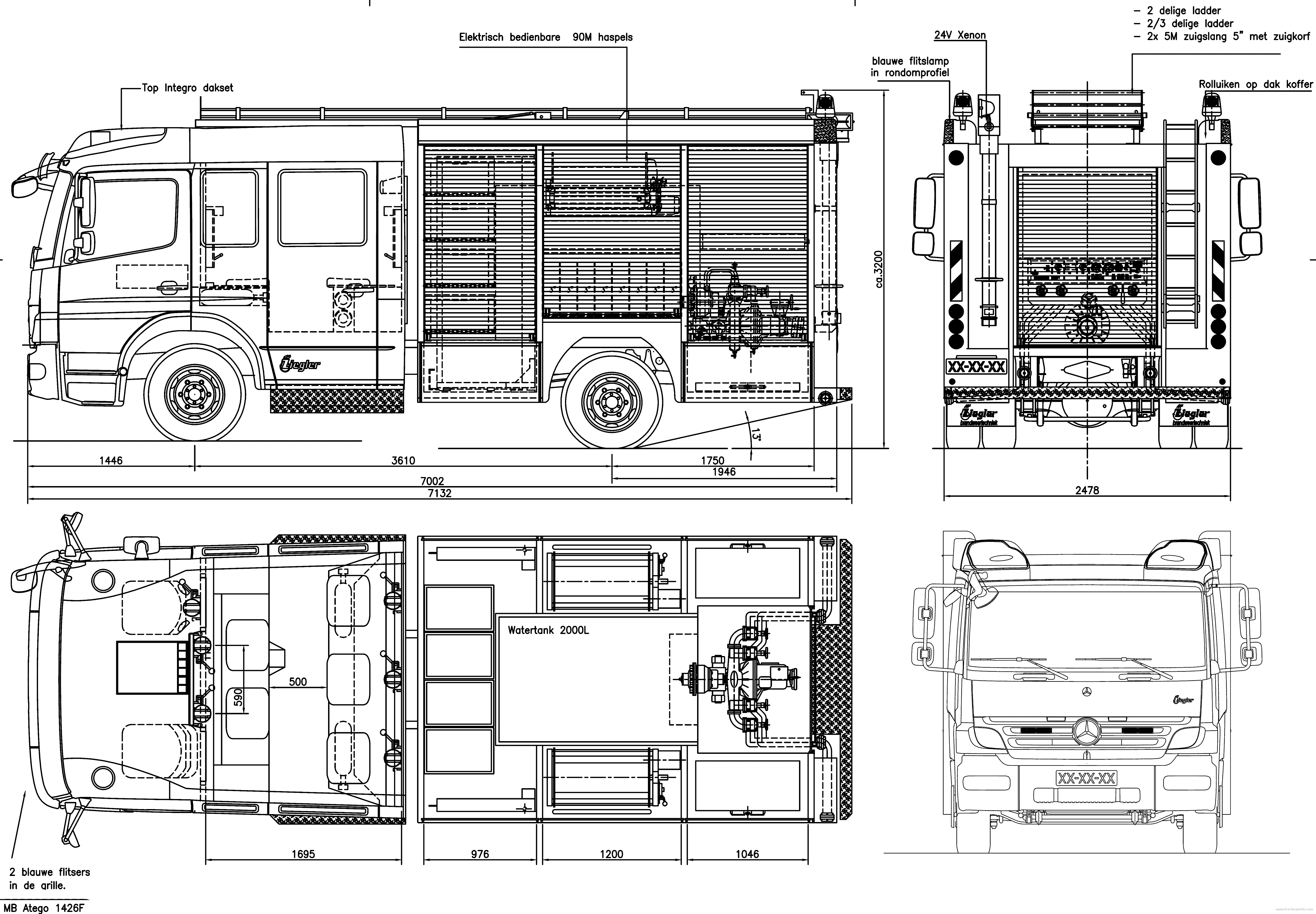 Mercedes-Benz Atego Fire Heavy Truck blueprints free - Outlines