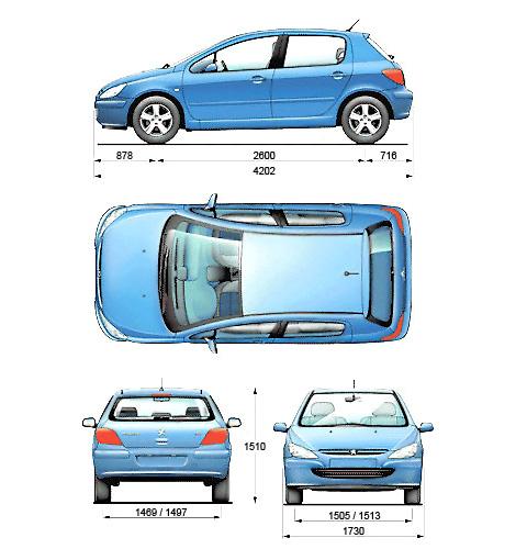 2001 peugeot 307 5 door hatchback blueprints free outlines peugeot 307 5 door blueprints malvernweather Choice Image