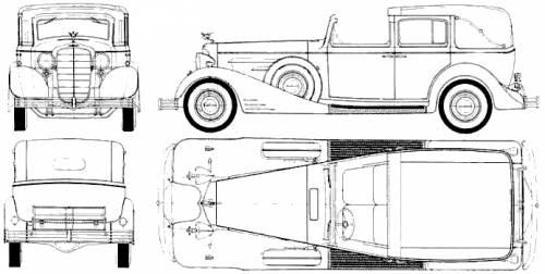 1933 Cadillac V16 Town Car Phaeton blueprints free - Outlines