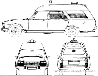 Peugeot 504 Ambulance Van Blueprints Free Outlines