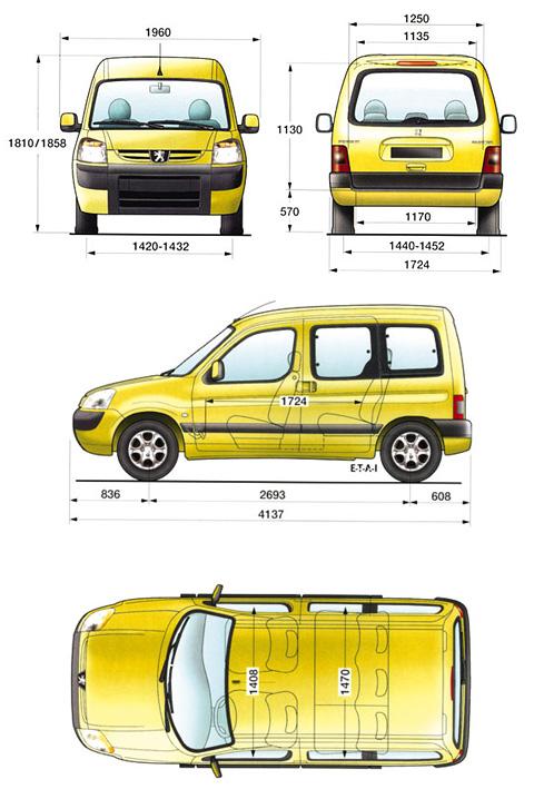 2004 peugeot partner minivan blueprints free - outlines