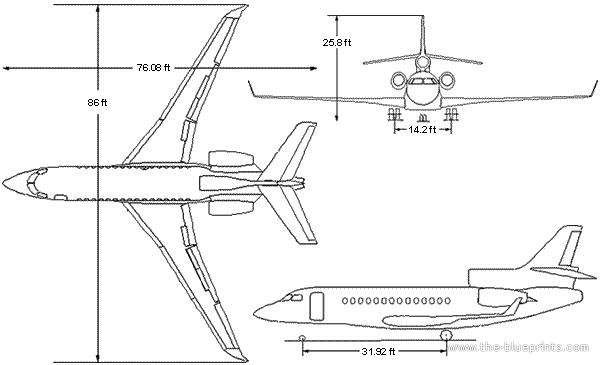 dassault falcon 7x blueprints free outlines