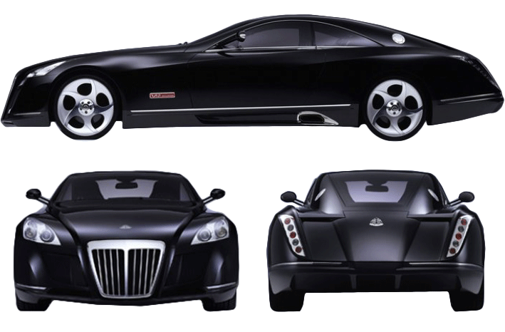 2005 maybach exelero concept coupe blueprints free - outlines