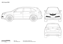 2010 Acura MDX II Facelift SUV blueprint