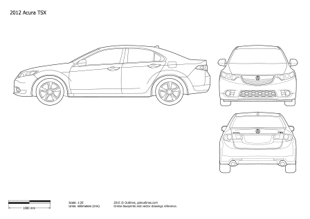 2008 Acura TSX Sedan blueprints and drawings