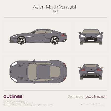 2012 Aston Martin Vanquish II Coupe blueprints and drawings
