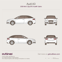 2008 Audi A3 Typ 8P Cabriolet blueprint