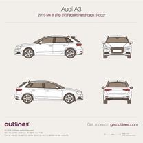 2016 Audi A3 Typ 8V Sportback 5-doors Facelift Hatchback blueprint