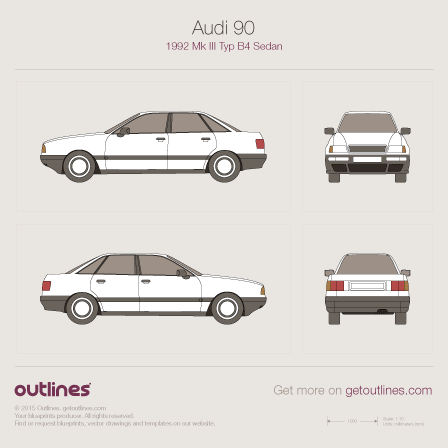 1992 Audi 90 Mk III Typ B4 Sedan blueprints and drawings