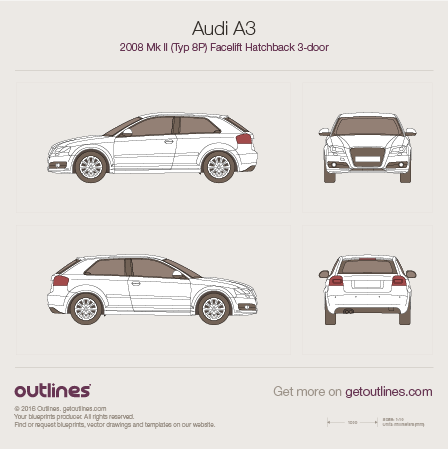 2008 Audi A3 Typ 8P 3-door facelift Hatchback blueprint