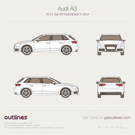 2012 Audi A3 Typ 8V Sportback 5-doors Hatchback blueprint