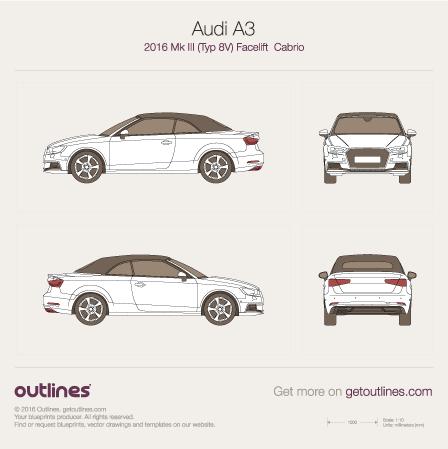 2016 Audi A3 Typ 8V Facelift Cabriolet blueprint