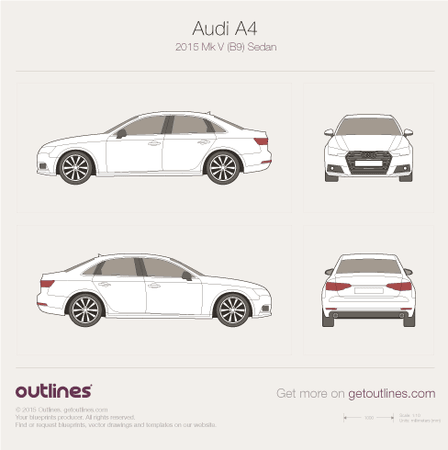 2015 Audi A4 B9 Sedan blueprints and drawings