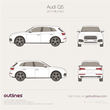 2017 Audi Q5 Typ 80A SUV blueprints and drawings