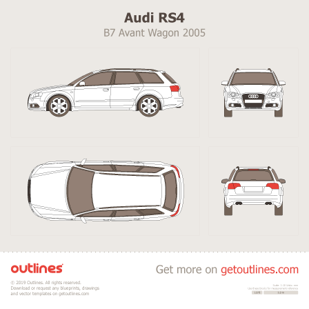 2005 Audi RS4 B7 Avant Wagon blueprint