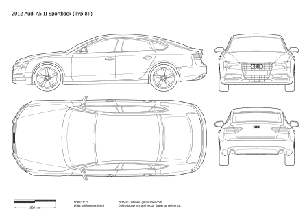 2011 - 2016 Audi A5 Typ 8TA Sportback  Facelift Hatchback drawings
