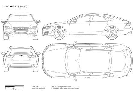 2010 Audi A7 4G8 Sportback Hatchback blueprints and drawings