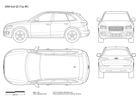 2008 Audi Q5 Typ 8R SUV blueprints and drawings