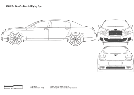 2005 Bentley Continental Flying Spur Limousine blueprints and drawings