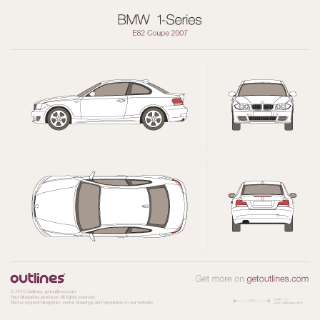 2007 BMW 1-Series E82 Coupe blueprint