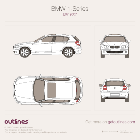 2004 BMW 1-Series E87 5-door Hatchback blueprint