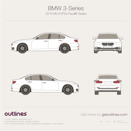 2015 BMW 3-Series F30 Facelift Sedan blueprint