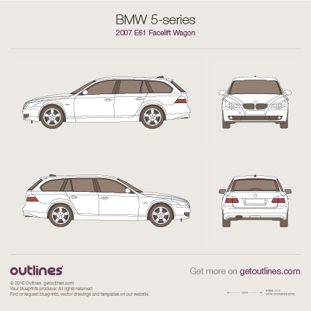 2007 BMW 5-series E61 Facelift Wagon blueprint