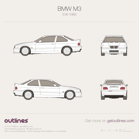 1992 BMW M3 E36 Coupe blueprints and drawings