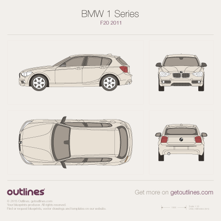 2011 BMW 1-Series F20 Hatchback blueprints and drawings