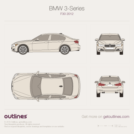 2011 BMW 3-Series F30 Sedan blueprints and drawings