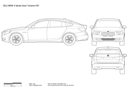 2010 BMW 5-Series Gran Turismo F07 Hatchback blueprint