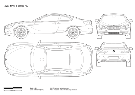 2011 BMW 6-Series F12 Coupe blueprint
