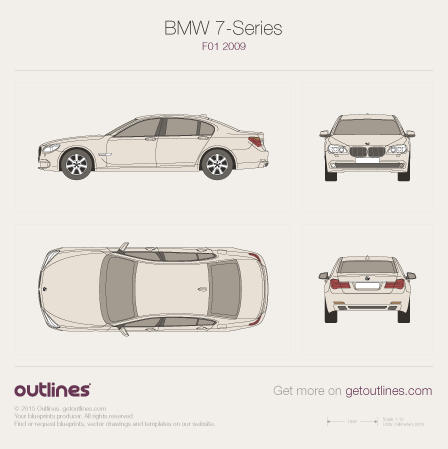 2008 BMW 7-Series F01 Sedan blueprint