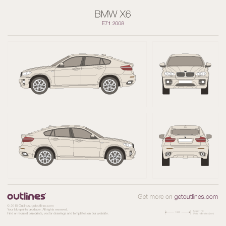 2008 BMW X6 E71 SUV blueprints and drawings