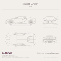 2016 Bugatti Chiron Outlined Wireframed Plans Coupe blueprint