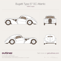 1936 Bugatti Type 57 SC Atlantic Coupe blueprint