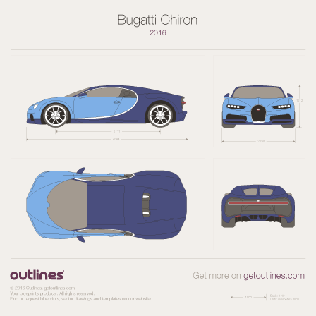 2016 Bugatti Chiron Coupe blueprint