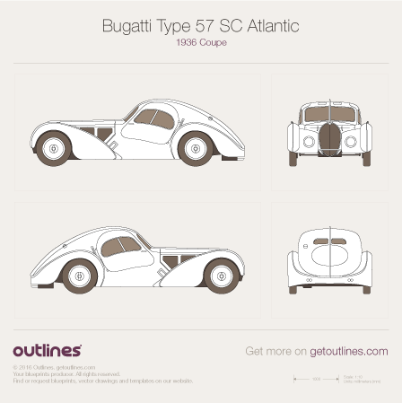 1936 Bugatti Type 57 SC Atlantic Coupe blueprints and drawings