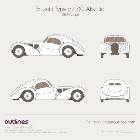 1936 Bugatti Type 57 SC Atlantic Coupe blueprint