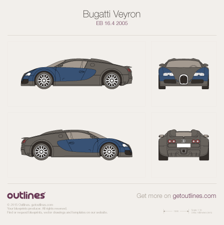 2005 Bugatti Veyron EB 16.4 Coupe blueprints and drawings