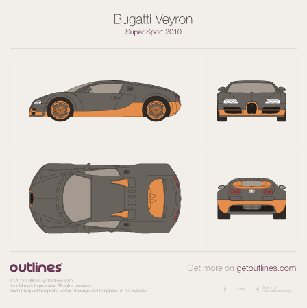 2005 Bugatti Veyron Super Sport Coupe blueprints and drawings