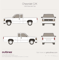 1987 Chevrolet C/K Mk IV Extended Cab Pickup Truck blueprint